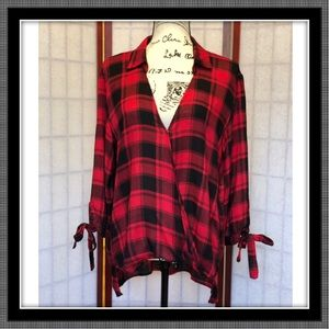 Tops - Red Plaid Shirt - Cute! NWOT - Large